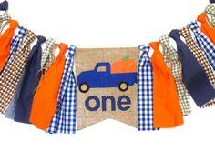 Pumpkin Little Blue Truck Birthday Banner HighChair High Chair   Etsy Pumpkin First Birthday, First Birthday Banners, Little Blue Trucks, Cake Smash Photography, Velcro Dots, Little Pumpkin, Blue Gingham, Cottage Design, Fall Pumpkins