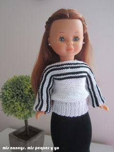 mis nancys, mis peques y yo, tutorial jersey de lana para Nancy (patrón gratis) Jersey blanco y negro