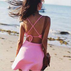 2016 Summer womens dresses Apparel Simple Vestidos Casual Dress Sleeveless Backless lace-up Ladies  Sexy Mini short beach Dress
