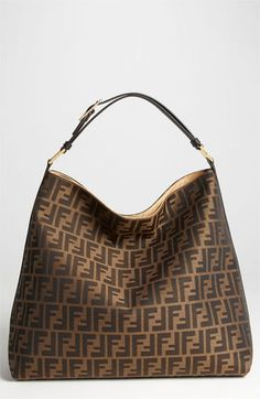 Fendi 'Zucca' Hobo     Iconic Zucca jacquard shapes a roomy Italian hobo trimmed with smooth leather and a color-saturated strap.          Hidden-magnetic closure.          Interior zip pocket.          Fabric with leather trim.          Made in Italy.        item #642076      $1,155.00