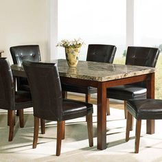 Gorgeous Marble Top Dining Table Designs for Stylish Room Interior – The Modern Limited Marble Top Dining Table, 7 Piece Dining Set, Dining Table Design, Dining Table In Kitchen, Dining Room Sets, Dining Table Chairs, Room Kitchen, Room Chairs, Kitchen Island