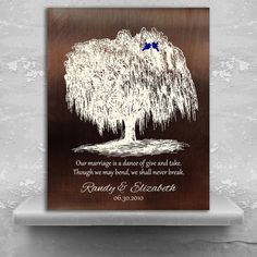 9 Year Anniversary Personalized Family Willow Tree Gift Faux Bronze Background Gift For Couple Custom Art Print on Paper Canvas Metal 11 Year Anniversary Gift, 9th Wedding Anniversary, Personalized Couple Gifts, Personalized Anniversary Gifts, Copper Gifts, Cotton Gifts, Custom Art, Framed Art Prints, Willow Tree