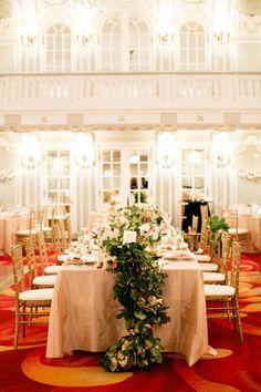 Elegant Wedding Reception at the Renaissance Blackston Hotel -- See more of the wedding here: http://www.StyleMePretty.com/2014/05/28/elegant-renaissance-blackstone-hotel-wedding/ Photography: KinaWicks.com