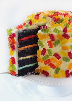 Gummy Bear Layer Cake- kids will love sticking the Gummy Bears on!