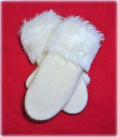 Your place to buy and sell all things handmade Sweater Mittens, Sweaters, Wool Felt, Felted Wool, Polar Fleece, Felt Christmas, Winter White, Couture, Sewing Ideas