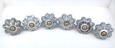 Grey Flower Shaped Ceramic Knobs