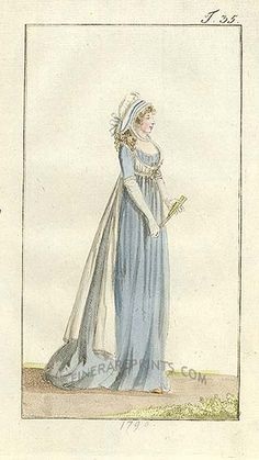 Blue gown with unusual white bodice/sash. Vintage Gowns, Vintage Outfits, Vintage Fashion, Vintage Clothing, 18th Century Clothing, 18th Century Fashion, Regency Dress, Regency Era, Historical Costume