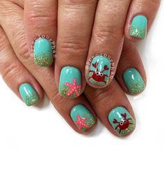 Crab and star fish nails. Sand. Vacation nails. Beach theme nails. #PreciousPhan