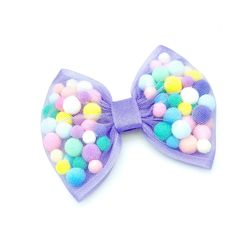 Handmade Girls Rainbow Dots multi Coloured Hair Bow Bobbles Sold In Pairs