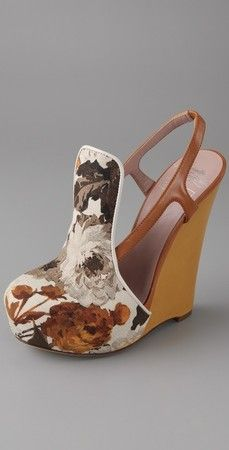 CHRIS BENZ Floral fabric wedges