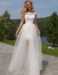 Tulle Wedding Dress, Detachable Bridal Dress, Lace Wedding