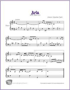 Aria from Suite in D (Bach) | Free Sheet Music for Piano - MakingMusicFun.net