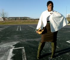 Winter white cape, green wide calf boots, skinny belt.  Love this look.  http://www.stylechic360.com/2011/12/featured-skorch-magazine.html  #plus #size #fashion