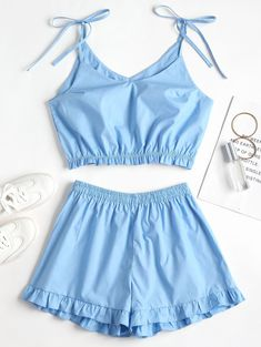 Crystal Blue No Summer Ruffles Solid Flat Elastic High Sleeveless Spaghetti Regular Fashion Casual and Daily and Going Knotted Ruffles Top and Shorts Set Cute Sleepwear, Sleepwear Women, Pajamas Women, Lazy Outfits, Cute Casual Outfits, Teen Fashion, Fashion Outfits, Crop Top And Shorts, Top Cropped