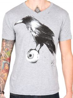 """Men's """"Raven"""" V-Neck Tee by Lowbrow Art Company"""