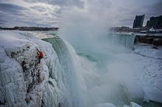 Will Gadd makes the first ascent of Niagara Falls, one of the most visited falls in the world; Photograph by Christian Pondella, Red Bull Content Pool Red Bull, Niagara Falls Frozen, Ontario, Ice Climber, National Geographic Adventure, Fall Video, New York State Parks, Parks Department, Colorado Rockies