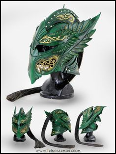 Green Elven Knight Helmet Compiled by Azmal.deviantart.com on @deviantART - Look at the detail!!