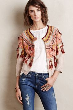 Anthropologie Guajava Cardigan M, Mixed Textures Fringed Sweater Cardi By Moth #Moth #Cardigan