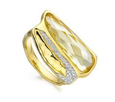 Riva Diamond Shore Double Ring in 18ct Gold Plated Vermeil on Sterling Silver with Diamond