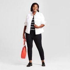 Women's Plus Size Denim Jeggings - Ava & Viv Black 20WS, Size: 20W Short