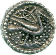 Obverse of a series Q sceatta showing a bird facing right below a triquetra   An Exhibition of Anglo-Saxon Coins and Artefacts to Celebrate the Acquisition by The Fitzwilliam Museum of the De Wit Collection of Early Anglo-Saxon Pennies