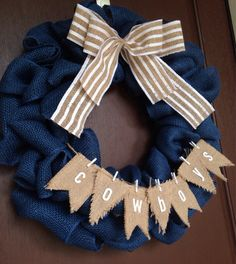 Dallas Cowboys Burlap Wreath by BellaVellaDesigns on Etsy