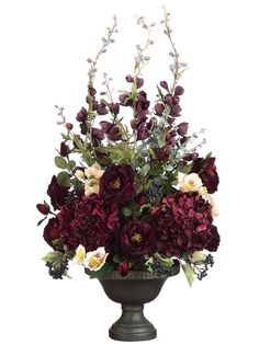 "Tori Home 38"" Delphinium, Rose and Hydrangea Floral Arrangement with Ceramic Urn"