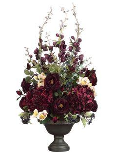 """Tori Home 38"""" Delphinium, Rose and Hydrangea Floral Arrangement with Ceramic Urn"""