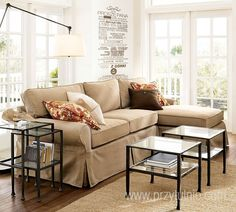PB Basic Slipcovered Left Arm Sofa with Chaise Sectional, Down Blend Wrapped Cushions, Washed Linen/Cotton Ivory At Pottery Barn - Furniture Sectional Slipcover, Chaise Sofa, Upholstered Sofa, Comfy Sectional, Sofa Bed, Free Interior Design, Interior Design Services, Interior Ideas, Nesting End Tables
