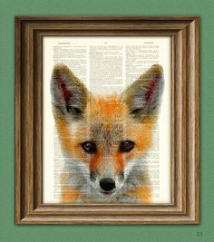 Red Fox Art Print over an upcycled vintage dictionary page book Woodland art print. $7.99, via Etsy.