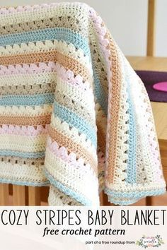 Get the free crochet pattern for this cozy stripes baby blanket from Attic 24 featured in my gender neutral baby blanket FREE pattern roundup!