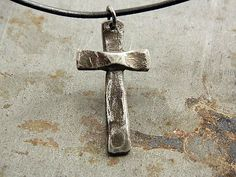 Christian Cross Hammered Textured Fine Silver Necklace by Trijoux, $54.00