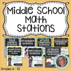 Stations are not just for Elementary School! Middle school students thrive when given the chance to work together and move about the classroom! Each station includes question sheets, student answer pages and Hint Cards. The 7 stations in this packet are: Middle School Math Review Stations Probability Stations Lesson Plan Data Displays Stations Writing Linear Equations Stations Graphing Linear Equations Stations Inequalities Stations Percents Stations. 6-10, 140 pgs. $