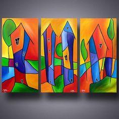 Kunst: The Burbs - von Künstler Thomas C. Fedro - Kunst: The Burbs – von Künstler Thomas C. Whimsical Art, Art Pictures, Art Lessons, Watercolor Art, Folk Art, Modern Art, Art Drawings, Art Projects, Abstract Art