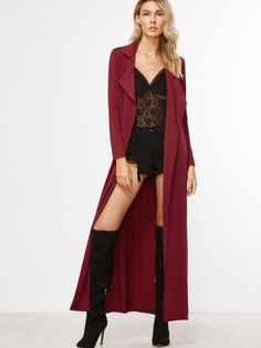 Burgundy Notch Collar Belted Maxi Duster Coat