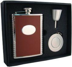 "Visol ""Compton"" 6oz Brown Leather Stellar Flask Gift Set . $32.95"
