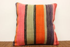 Colorful Striped Kilim pillow cover 16 x 16 by kilimwarehouse, $43.00