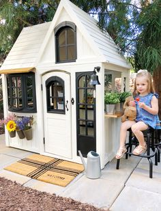 "Our modern ""farmhouse"" makeover of Costco's Greystone Summit Playhouse into our girl's very own outdoor marketplace! Costco Playhouse, Backyard Playhouse, Build A Playhouse, Modern Playhouse, Playhouse Ideas, Childrens Outdoor Playhouse, Cedar Playhouse, Toddler Playhouse, Outdoor Playhouses"