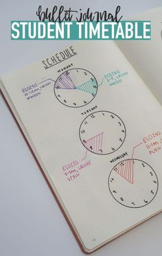 Bullet Journal STUDENT TIME TABLE...Use clocks to keep track of your schedule so you're always on time :) I love that you could easily do something like this to plan meetings, or your weekly schedule at work!
