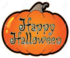 Pumpkin With Happy Halloween Sign - Vector Illustration. Royalty ...