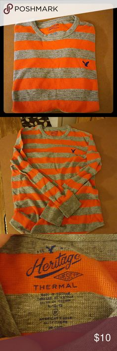 AE Men's Thermal EEUC!! Worn once. Orange & Gray. American Eagle Outfitters Shirts