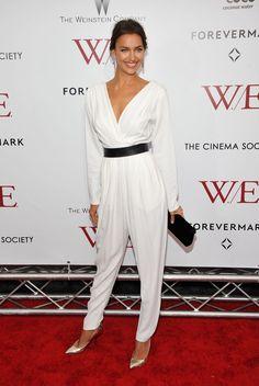 Irina Shayk Jumpsuit - Irina Shayk rocked a white draped jumpsuit for the 'W.E.' New York premiere.