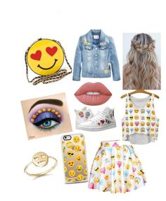 """""""emoji outfit"""" by violettav631 on Polyvore featuring Bing Bang, Casetify, Skechers and Lime Crime"""