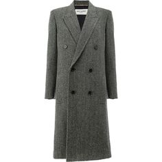 Saint Laurent tweed double breasted coat ($4,070) ❤ liked on Polyvore featuring outerwear, coats, grey, grey tweed coat, gray coat, knee length coat, tweed coats and grey double breasted coat
