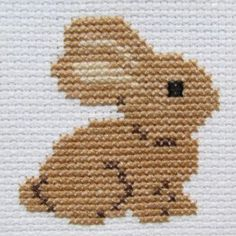 Handmade Brown Bunny Cross Stitch in a Black Frame, You can produce very special patterns for fabrics with cross stitch. Cross stitch models will very nearly impress you. Cross stitch novices may make the models they desire without difficulty. Cross Stitch Family, Small Cross Stitch, Cross Stitch Bird, Cross Stitch Borders, Cross Stitch Alphabet, Cross Stitch Animals, Cross Stitch Charts, Cross Stitch Designs, Cross Stitching