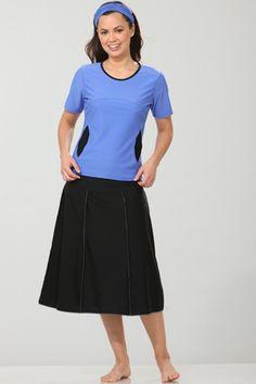 """Extra long swim skirt with built-in shorts. 27.5"""" skirt length."""
