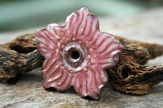 Handmade Ceramic Disc Flower by LisaPetersArt on Etsy