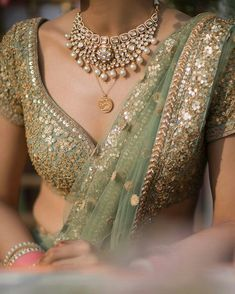 Photo by Outfit Beautiful Detailing! Photo by Nitish Arora Outfit Bridal Lehenga, Lehenga Choli, Anarkali, Green Lehenga, Lehenga Style, Indian Dresses, Indian Outfits, Indian Clothes, Indian Wedding Dresses