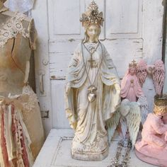 Large Virgin Mary statue ornate crown painted distressed soft pale colors religious Madonna French inspired home decor Anita Spero Design