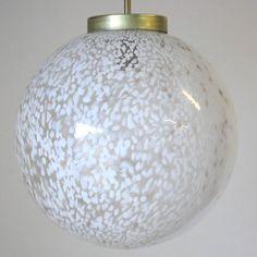 Murano Clear and White Glass Globe Pendant 2